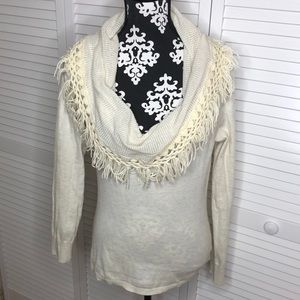 Anthro Angel of the North Cowl Tassel Sweater S